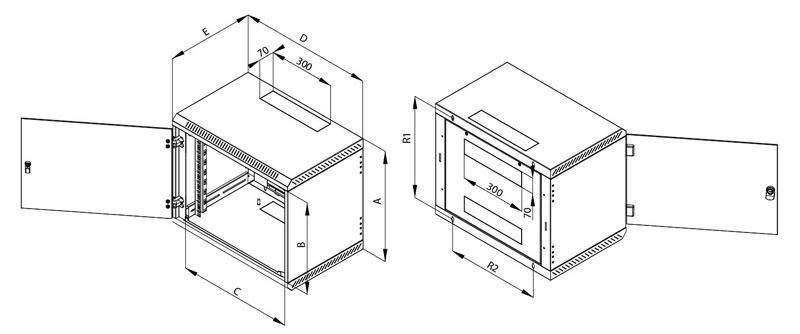 Rozměry jednodílného nástěnného rozvaděče Triton RBA